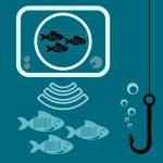schéma qui représente un sondeur de pêche avec des icônes de poissons et un hameçon dans l'eau